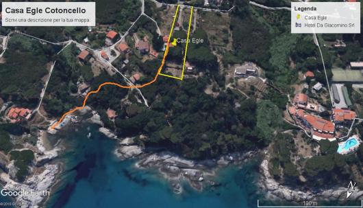 Casa Egle foto satellitare gelb Grundstueck; orange Weg zum Strand