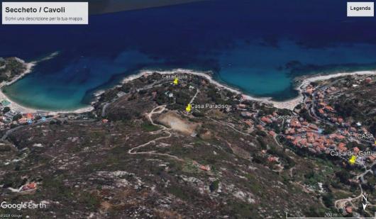 foto satellitare Casa Paradiso con spiaggia di Seccheto e Cavoli aaa